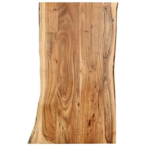 vidaXL Massivholz Tischplatte Baumkante Massivholzplatte Akazie 100x(50-60) x2,5cm