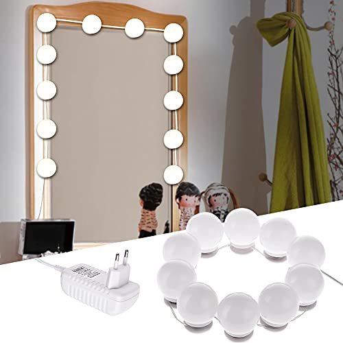 LTPAG LED Spiegelleuchte, 10 LED Dimmbar Spiegellampen für das Bad, Hollywood Stil Leuchte für Schminktisch Deko, 6500K Kosmetikspiegel Beleuchtung Kit mit Doppelseitigen Klebestücken