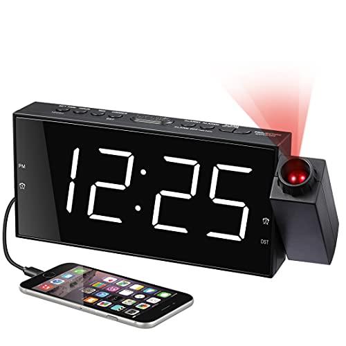 Projektions Wecker für Schlafzimmer, Digitalerwecker mit Großer LED-Anzeige und Dimmer, 180 °Projektor, USB-Ladegerät, 12/24 H, Sommerzeit, Schlummer, Schreibtischwand-Deckenuhr für ältere Kinder