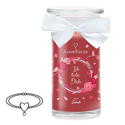 JuwelKerze Ich liebe Dich große Duftkerze (Rose, 1020g, 95-125 Std. Brenndauer) in Rot mit 925er Sterling Silber Schmuck mit Swarovski Kristall, Armband