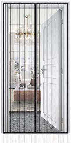 Auxmir Magnet Fliegengitter Tür, Insektenschutz Balkontür 100x210cm, Magnetvorhang für Balkontür Terrassentür Kellertür Schiebetür und Wohnzimmer, Kinderleichte Klebemontage Ohne Bohren, Schwarz