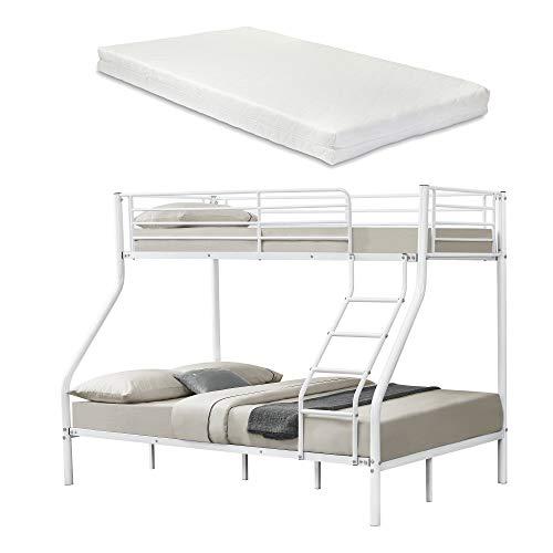 [neu.haus] Metall-Etagenbett - Weiß - Mit Matratzen 200x140/90cm Kinderbett Stockbett Hochbett Metall Bettgestell