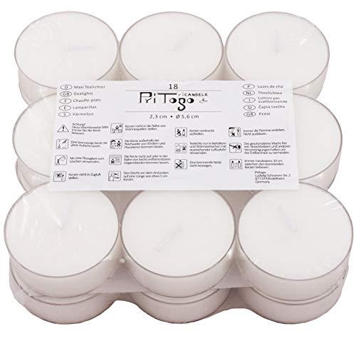 Pritogo Teelichter XXL Kunststoffhülle, [18 Stück] Ø 5,8 x 2,2 cm