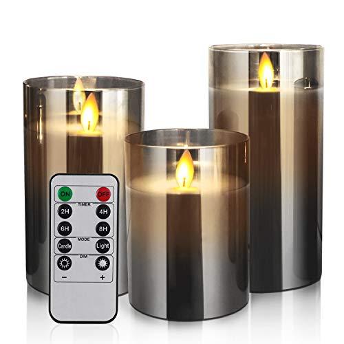YMing LED Flammenlose Kerzen Flackern mit Fernbedienung und Timer, 4in 5in 6in, 3er-Set batteriebetriebene elektrische Kerzen mit beweglichen Wick Dancing Flames, echte Wachssäulenkerzen mit Glass
