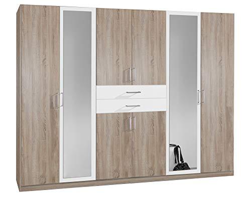 lifestyle4living Kleiderschrank mit Spiegel, Eiche Sonoma Dekor, Weiß, 270 cm | Drehtürenschrank 8 türig mit 2 Schubladen im klassischen Stil