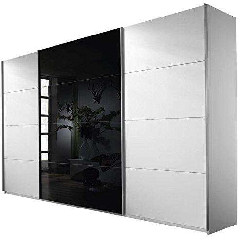 Rauch Schwebetürenschrank Weiß Alpin 3-türig, Glas Schwarz, BxHxT 315x230x62 cm