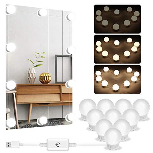 Dimmbar LED Spiegelleuchten, USB LED Makeup Beleuchtung Lampen Schminktisch Leuchten 10 dimmbare LED Badezimmer Spiegel Lampen für Make Up Lichter (keine Spiegel)