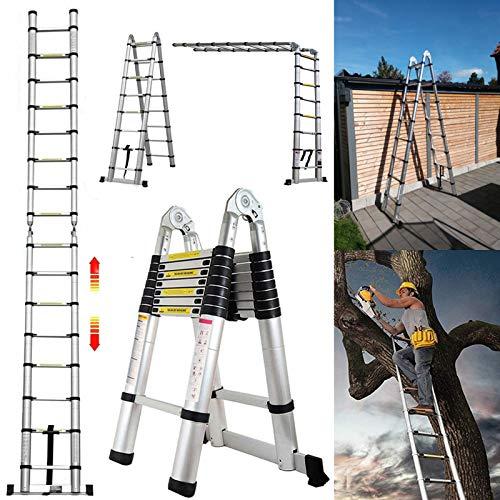 5M Teleskopleiter ausziehbare Leiter Aluleiter Ausziehleiter Anlegeleiter 16 Sprossen Mehrzweckleiter 150kg Belastbarkeit Sicherheitsverriegelung Leiter