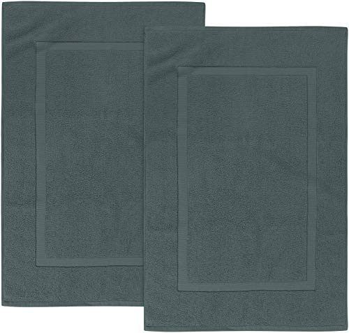 Utopia Towels - 2er Pack groß Badematte Badvorleger, 985 g/m² - 100% Baumwolle Frottee -Waschbare Badteppich (53 x 86 cm) (Grau)