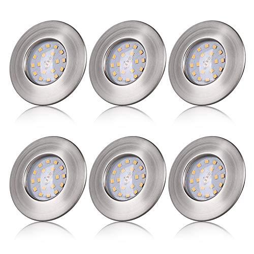 LED Einbaustrahler ultra Flach IP44 Badeinbaustrahler 5W LED Modul 230V Spots Bad Deckenspot Einbauspot Warmweiss 400LM Round Matt Nickel Deckenstrahler - 6er Set