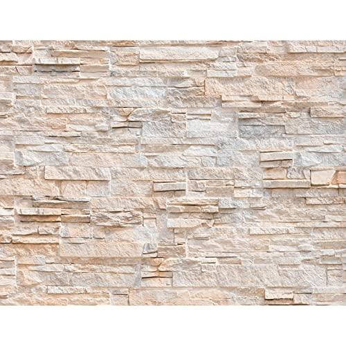 Fototapete Steinwand 3D Effekt 352 x 250 cm Vlies Tapeten Wandtapete XXL Moderne Wanddeko Wohnzimmer Schlafzimmer Büro Flur Beige 9082011a