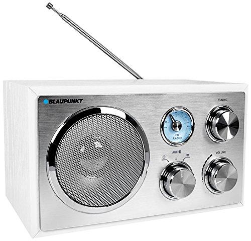 Blaupunkt RXN 180, kleines UKW Küchenradio mit Bluetooth, einfache Bedienung, Analog-Tuner, Teleskop-Antenne, Küchen-Radio Retro mit Aux In, Nostalgieradio fürs Bad, Radio mit Netz Kabel, weiß